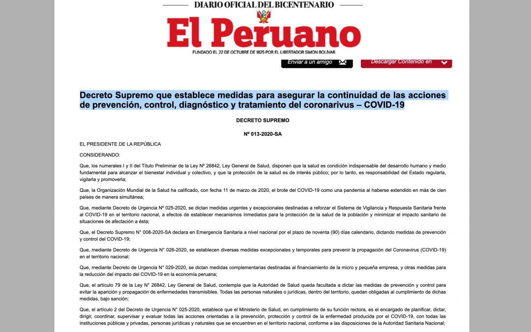 Decreto Supremo Nº 013-2020-SA