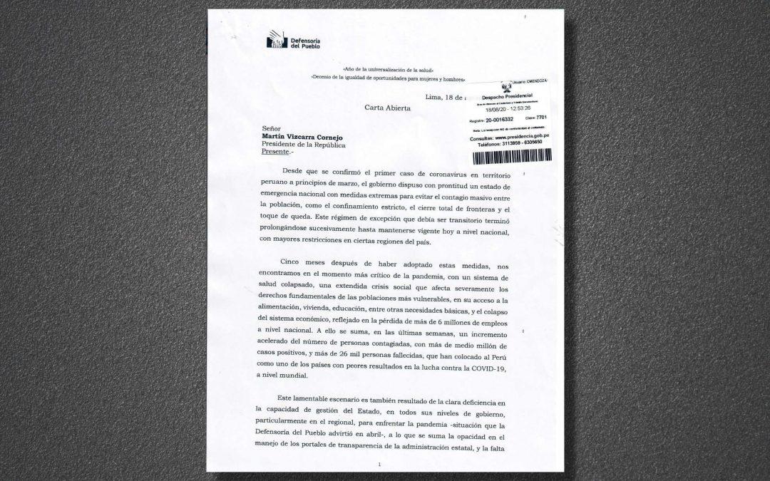 Carta del Defensor del Pueblo al Presidente de la República