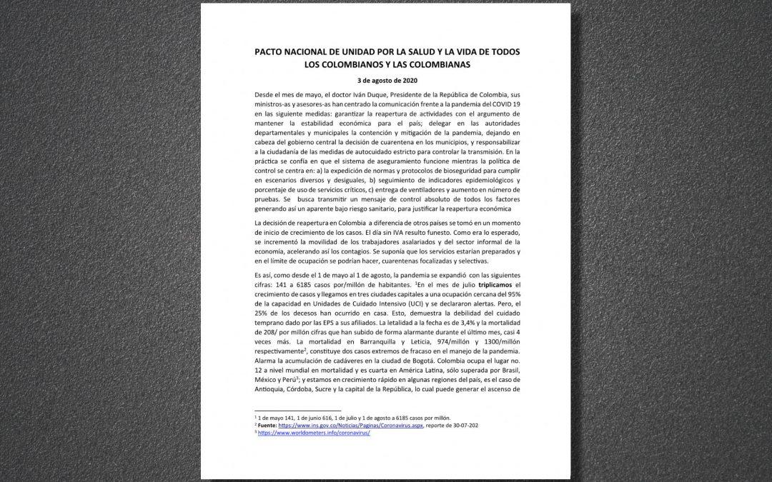Pacto Nacional de Unidad por la Salud y la Vida de todos los colombianos y las colombianas