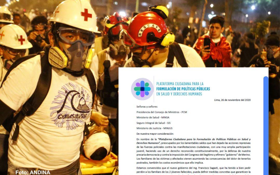 Carta al gobierno sobre creación del Fondo Público Especial para las víctimas de la represión policial