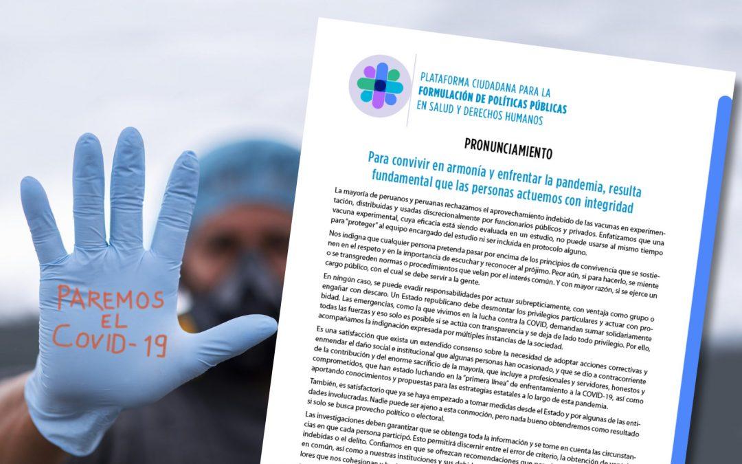 Pronunciamiento: Para convivir en armonía y enfrentar la pandemia, resulta fundamental que las personas actuemos con integridad