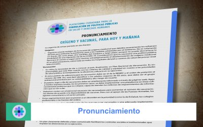 Pronunciamiento: Oxígeno y vacunas para hoy y mañana