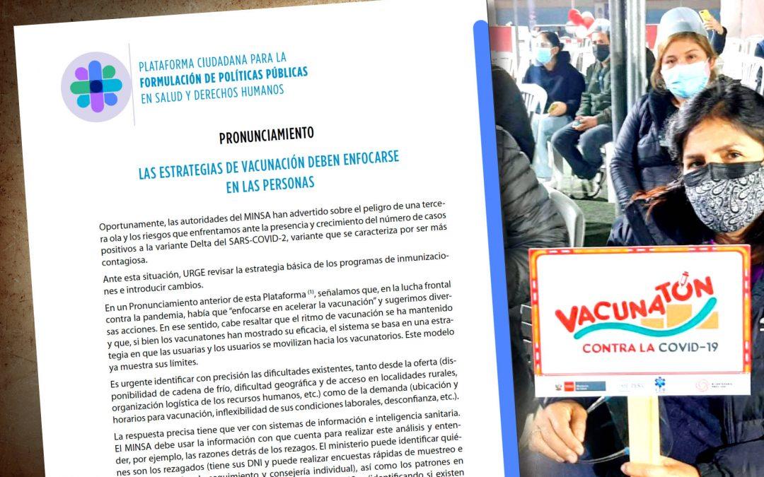 Pronunciamiento «Las estrategias de vacunación deben enfocarse en las personas»